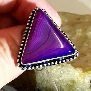 Jewelry - GORGEOUS PURPLE BOTSWANA AGATE RING S925